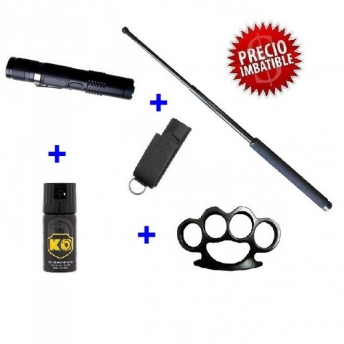 DEFENSA ELECTRICA  LINTERNA TASER M11 + DEFENSA EXTENSIBLE + FUNDA + PUÑO AMERICANO + SPRAY DEFENSA KO 40 ML
