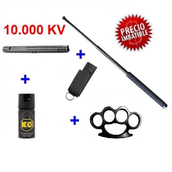 DEFENSA ELECTRICA MODELO X-8 10.000.000 VOLTIOS + DEFENSA EXTENSIBLE + PUÑO AMERICANO + SPRAY DEFENSA GAS PIMIENTA KO 40 ML