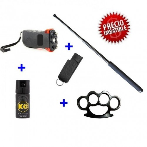 "DEFENSA ELECTRICA STUN-GUN MOD. 368 CON 5000 KV  + DEFENSA EXTENSIBLE DE 21"" + PUÑO AMERICANO + SPRAY DEFENSA PERSONAL KO 40 ML"