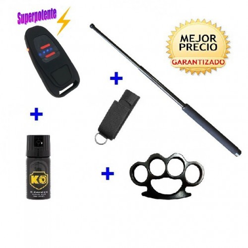 DEFENSAS ELECTRICAS MANDO DE COCHE, CON  DEFENSA EXTENSIBLE + FUNDA+ SPRAY DEFENSA KO 40 ML
